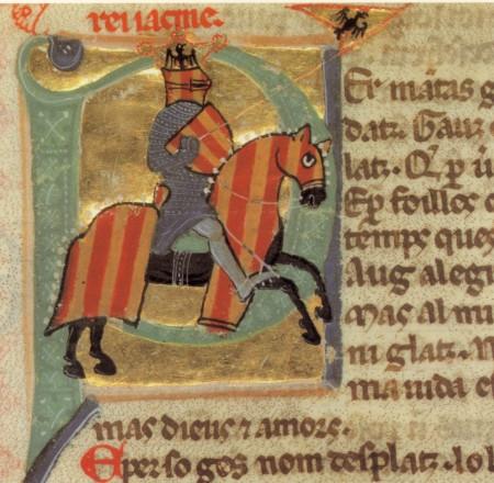 Le roi troubadour Alphonse d'Aragon à cheval.