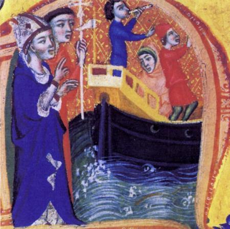 Pontifical de l''archevêque de Narbonne Pierre de la Jugie. Bénédiction d'un bateau.