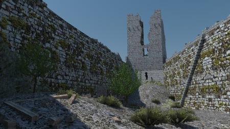 Le château de Montségur au début duXXe siècle. Hyptohèse 3D proposée par Tristan Bergerot.