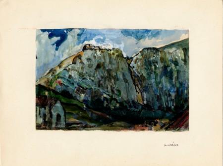 Montségur. Gouache de René Nelli (Fonds René Nelli, ADA)